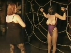 Three Domineer Busty MILFs Take a crack at Fun In a Thraldom Sex Dungeon