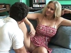 Cute breasty MILF in action