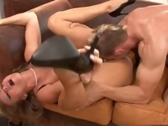 Sexy Dyanna Lauren gets her pink soaked cum-hole fucked by a huge hard cock