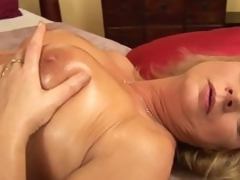Lustful aged woman Rosalyn pleases herself