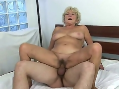 Check out with old whore Malya riding big young meat stick