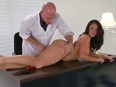 Brunette Samm Rosee acquires her mouth stretched by Johnny Sinss sturdy ram rod