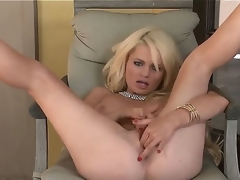 Turned on undressed blond Alexis Ford with red nails and pierced stomach button widens long legs during the time that teasing lover in pint of view and fingers shaved pink honey pot to orgasm.