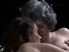 We get some pretty enjoyable old/young lesbo sex here, with a blue haired old lady making out with a young, svelte beauty. Man, I dont remember Grandma having a body like that!