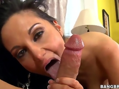 Black haired and arousing milf Ava Addams with large tits gives an astounding blowjob session on the couch after shes done playing with her large dark sex-toy sex toy int this chab room.