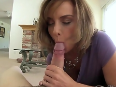 Lusty mature dark brown milf Rebecca Bardoux gets turned on and on her knees sucks younger stud Winston Burbank with biggest meaty bazooka whilst he is recording everything in pov