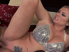 Hot and busty golden-haired playgirl Briana Banks with large bazookas in her white lace bra receives her hairless minge drilled hard in astonishing sex session with her lusty partner Keiran Lee