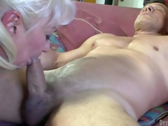 Dana Hayes is s blond-haired granny with great 10-Pounder sucking experience. This sweetheart gives oral-service to well brawny hard cocked guy. This sweetheart sucks his rock hard rod non-stop and cant acquire enough. Watch indecent oldie blow!