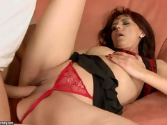 Gina Red is one insatiable mature brunette hair hair in hawt red belt panties. This babe receives her bald snatch drilled hard and deep in many positions by her hot blooded fuck buddy previous to this babe receives enough