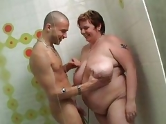 Giant BBW acquires team-fucked in the shower