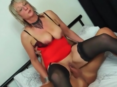 Mature sweetheart in red underware rides boner