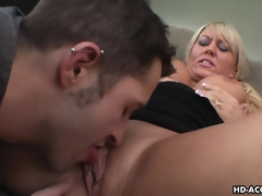 Luscious blonde MILF moans during the time that being shagged hard