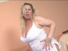 Overweight mature blond models lace underware
