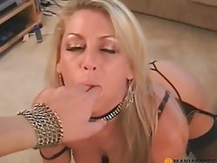Blond passionately crawling to the guy