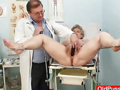 Breasty grandmother Ruzena visits gyno fetish clinic