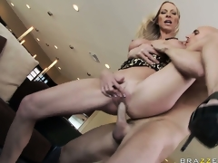 With fabulous big tits, she gets her juicy cunt fucked hard and deep from behind