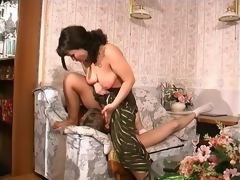Nasty milf undressing a shy dude and seducing him into his first intercourse