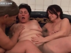 Tasteless horny old sluts go crazy licking twosome possibility