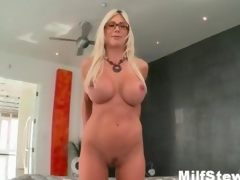 Sexy blonde milf gone crazy in the same manner her boobs