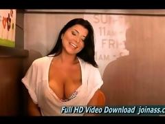 Romi is a beautiful milf pushing  her titties up