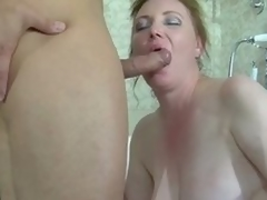 Fat brunette milf caught in a catch tube receives group-fucked